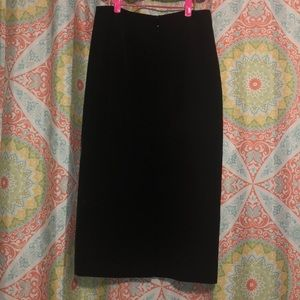 Signature by Larry Levine Skirts - Long Black Pencil Skirt with calf slit, Size 4
